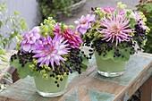 Small bouquets with dahlia, elderberry (sambucus nigra)