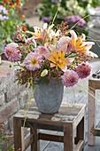 Rose late summer bouquet, Dahlia, Lilium asiaticum 'Passion