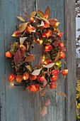 Leaf wreath with physalis (lantern flower) and fairy lights