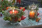Windlichter mit Glocken - Chili 'Bishop's Crown' (Capsicum), Rosmarin