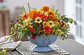 Edible bouquet with Tropaeolum, fennel