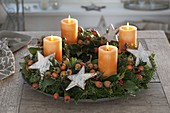 Natural Advent wreath made from abies nordmanniana (nordmann fir)