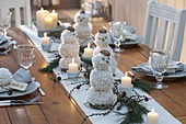 Christmas decorations with white wool balls