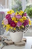 Bouquet of Ranunculus, Acacia, Hyacinthus