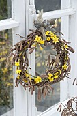 Wreath of Corylus avellana and Jasminum nudiflorum branches