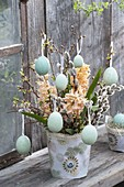 Easter bouquet from Hyacinthus 'Gipsy Queen', Salix branches