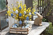Easter bouquet with felt Easter eggs, Forsythia branches