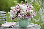 Pink and white bouquet of Syringa, Aquilegia