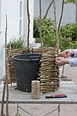 Decorate planter with homemade wicker elements