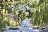 White-green bouquet from Dahlia, Cosmos
