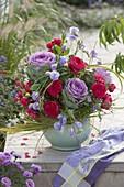 Early autumn bouquet with Rosa, Brassica, Lathyrus odoratus