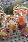 Large preserving jars as lanterns with malus