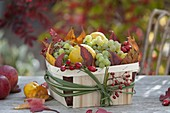 Autumn basket with grapes, quinces