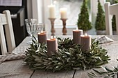 Mediterranean Advent wreath of olive branches with candles