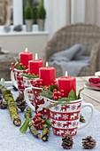 Coffee mug with Christmas decor as an unusual Christmas wreath