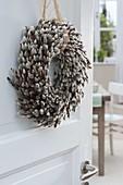 Door wreath of kitten willow