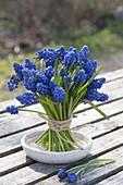 Small Muscari armeniacum (grape hyacinth) bouquet