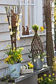 Living wickerwork as an Easter decoration on the terrace