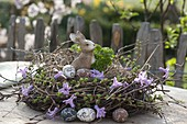 Wreath of Larix and Betula branches as easter nest