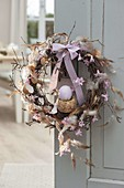 Easter door wreath from branches of betula (birch)