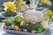 Covered Easter table with daffodils