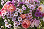 Autumn bouquet of aster, Rose, dahlia