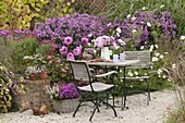 Autumnal gravel terrasse with small seating group on the flowerbed with aster