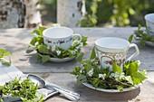 Maiengrün teacups with small betula twigs wreaths