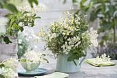 White bouquet of tea herbs, elderberry, chamomile