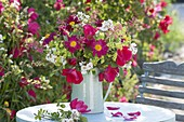 Red-white Rosa gallica 'Scarlet Glow' and R. Multiflora bouquet