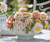 Apricot-colored, fragrant pink, in porcelain bowl