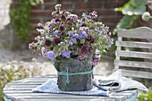 Borretsch blue-rose bouquet, Malva, Ageratum