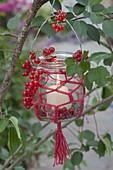 Preserving jar with macrame as lantern on tree
