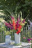 Bright bouquet of gladiolus, fennel flowers