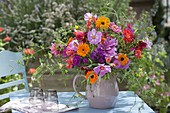 Colorful cottage garden bouquet with Cosmos, Calendula