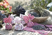 Making lavender sachets out of scraps