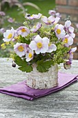 Anemone hupehensis 'September charm' (autumn anemone) bouquet