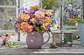 Colorful bouquet of Rose, Cosmos, Dahlia