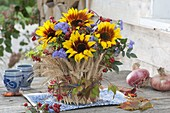 Cottage Thanksgiving Bouquet with Helianthus 'Ring Of Fire'