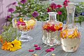 Freshly picked vinegar flower with white balsamic vinegar and petals