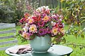 Rustic bouquet of Zinnia, Dahlia, Anemone