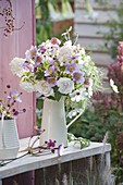 Rose-white bouquet of Anemone hupehensis, Cosmos