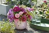 Fragrant bouquet of roses, zinnia and fennel flowers