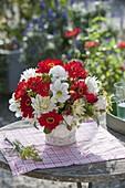 Red-white bouquet of zinnia, dahlia, Rose