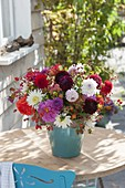 Bouquet of mixed dahlia and Rose, rosehips