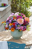 Bouquet of Rose, zinnia, ageratum