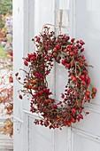 Door wreath made of different roses (rosehip) on old door