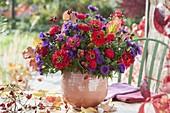 Autumn bouquet of Zinnia, Aster, Rosa