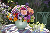 Colorful bouquet of pink (rose), Zinnia (Zinnia), Ageratum