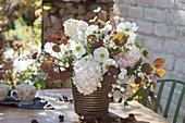 Autumn bouquet with Cosmos (daisy), Hydrangea